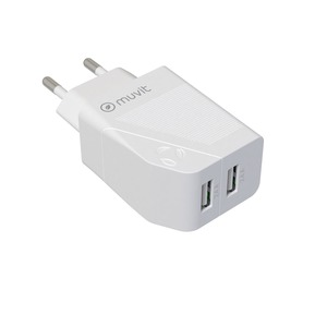 MUVIT FOR CHANGE CHARGEUR SECTEUR 2 USB 2x2.4A (24W) BLANC