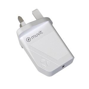 MUVIT FOR CHANGE CHARGEUR SECTEUR PD USBC 18W BLANC UK