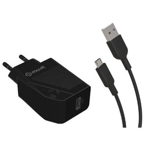 MUVIT FOR CHANGE PACK CHARGEUR SECTEUR 12W + CABLE MICRO USB 1.2M NOIR