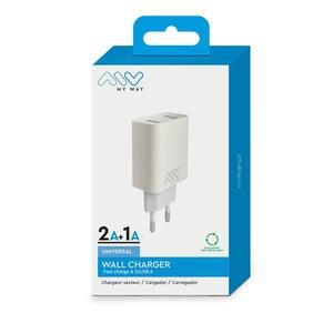 MYWAY 2 USB 3A CHARGEUR SECTEUR BLANC