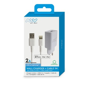 MYWAY PACK CHARGEUR SECTEUR 2A + CABLE LIGHTNING MFI 1M BLANC