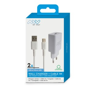 MYWAY PACK CHARGEUR SECTEUR 2A + CABLE MICRO USB 1M BLANC