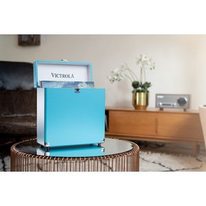 VALISE A VINYLES RANGE/TRANSPORTE 30+ ALBUMS TURQUOISE