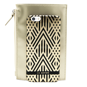 BUNDLE MIDNIGHT COQUE ARTDECO + POCHETTE OR IPHONE 6/6S/7/8