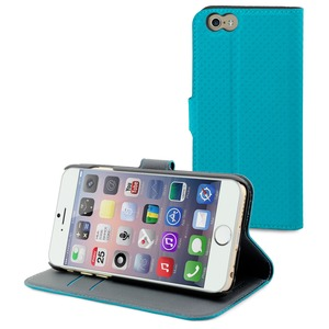 ETUI WALLET FOLIO TURQUOISE 2 RANGTS CARTE STAND APPLE IPHONE 6/6S