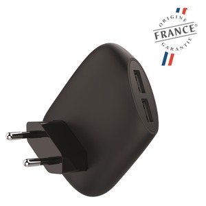 MADE IN FRANCE CHARGEUR SECTEUR 2.4A 2USB NOIR