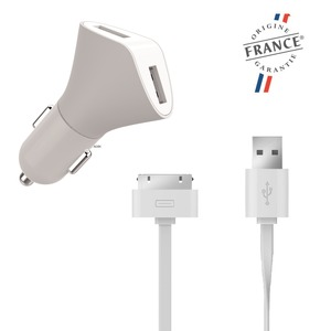 MIF CHARGEUR VOITURE 2USB 3.1A+ CABLE PLAT USB APPLE 30 PIN 1.2M BL