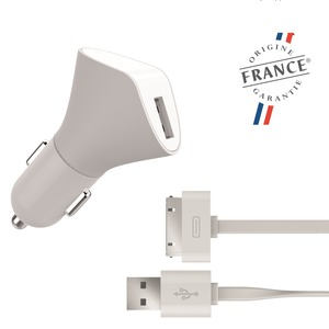 MIF CHARGEUR VOITURE USB 1A + CABLE PLAT USB APPLE 30PIN 1.2M BLANC