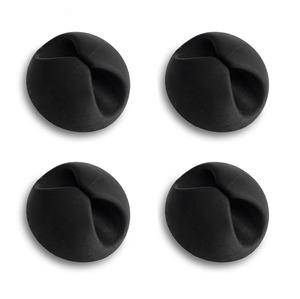 4 CLIPS NOIRS POUR CABLES AVEC AUTOCOLLANT