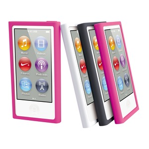 COQUE SILICONE NOIR ROSE BLANC: APPLE IPOD NANO 7G