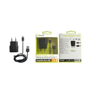 SPRING PACK CHARGEUR SECTEUR USB+CABLE 1A USB/MICRO-USB 1M NOIR