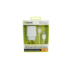 SPRING PACK CHARGEUR SECTEUR 2USB 2A+LIGHTNING MFI 1M BLANC