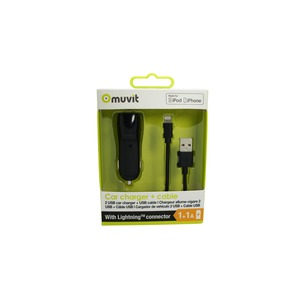 SPRING PACK CHARGEUR VOITURE 2USB+CABLE 2A USB/LIGHTNING 1M NOIR