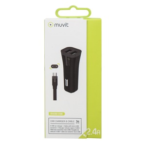 TAB PACK CHARGEUR VOITURE 2USB +CABLE 2.4A USB/MICRO-USB 1M NOIR