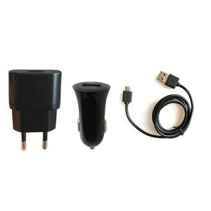 PACK CHARGEUR VOITURE+SECTEUR 1A USB/MICRO-USB 1M NOIR