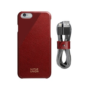 NATIVE UNION CLICLEATHER IPHONE 6/6S & BELT CABLE BUNDLE - BORDEAUX