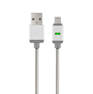 POWERSTEEL CABLE USB MFI APPLE LIGHTNING RENFORCE METALISE 1M