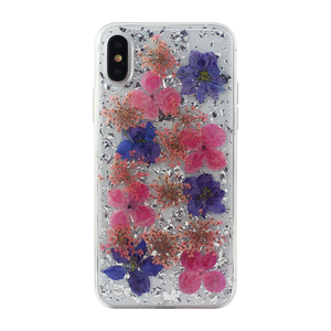 COQUE FLOWERPOWER PAILLETTES ARGENT/VIOLET: APPLE IPHONE X/XS