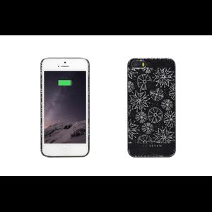 FUN COQUE NOIR GROS FLOCONS + POCHETTE APPLE IPHONE 5/5S/SE