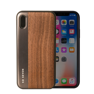 SULFUROUS COQUE METAL OR + BOIS APPLE IPHONE X
