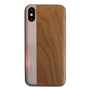 SULFUROUS COQUE METAL OR ROSE + BOIS APPLE IPHONE X