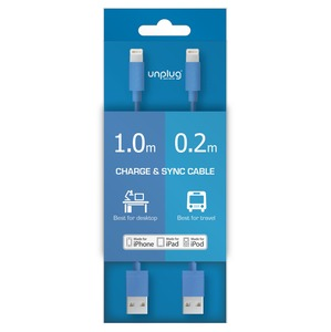CABLE USB/LIGHTNING 0.2M ET 1M BLEU