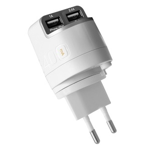 CHARGEUR SECTEUR 2USB (EU US UK AU)+CABLE 3.4A LIGHTNING BLANC