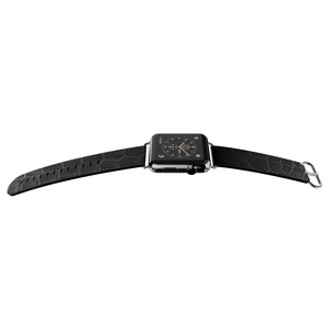 BAND LUX CROC NOIR 42MM POUR APPLE WATCH 1 2 3