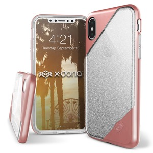 COQUE REVEL LUX ROSE GOLD GLITTER POUR IPHONE X/XS