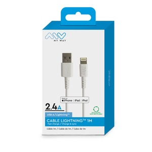 MYWAY CABLE USB A VERS LIGHTNING MFI 1M BLANC