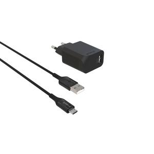 GREEN_E CHARGEUR SECTEUR 1 USB + CABLE MICRO USB 1M30 NOIR + SAC