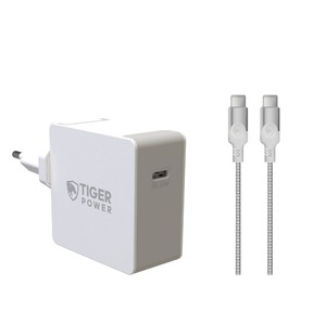 TIGER POWER CHARG. SECTEUR EU/UK/US PD 30W+CABLE USB C/USB C 3.1 1.2M