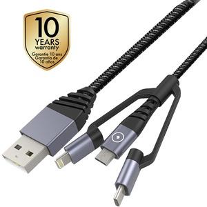 TIGER CABLE 3EN1 USB/MICRO-USB/TYPE C/LIGHTNING 1.2M GRIS
